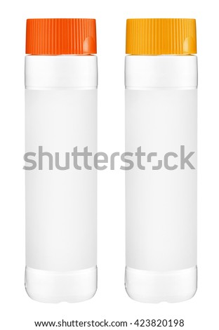 White plastic bottles with orange and yellow cap for cleaning laundry detergent or bleach isolated on white background - stock photo