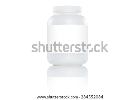 white plastic bottles with white label on white background - stock photo