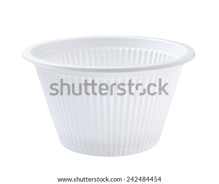 white plastic bowl isolated on white background - stock photo