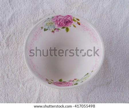 White plastic bowl isolated on white background  - stock photo