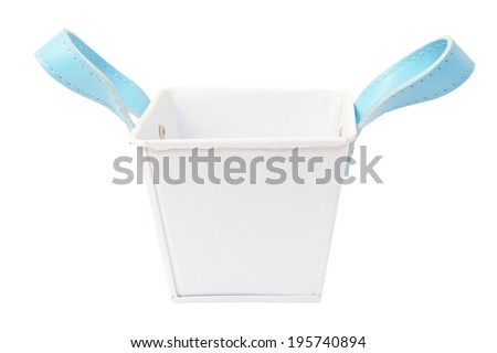 White plastic bucket. Product Packaging For other tool.  - stock photo