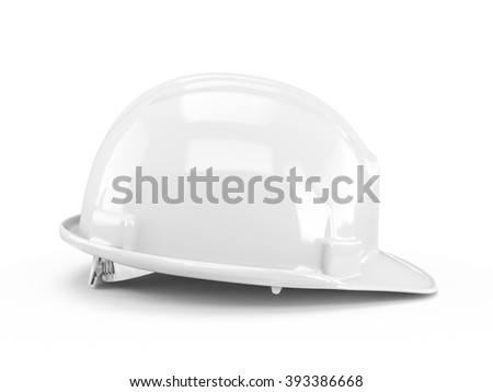 White plastic construction helmet isolated on white background.