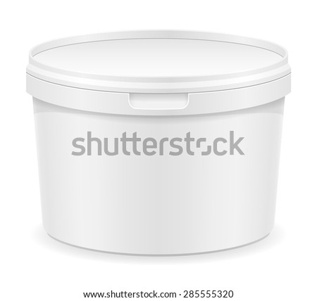 white plastic container for ice cream or dessert illustration isolated on background - stock photo