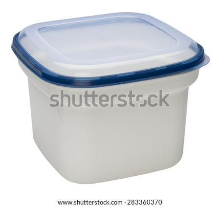 White plastic container isolated on white background. - stock photo