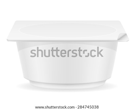 white plastic container of yogurt illustration isolated on background
