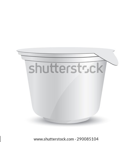 White plastic container of yogurt or ice cream illustration isolated on background - stock photo
