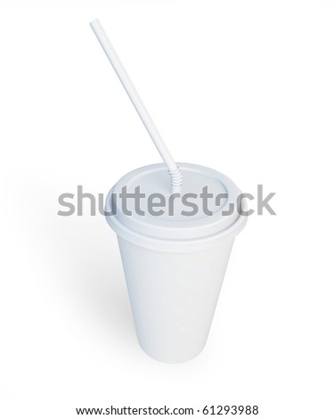 White plastic cup and straw isolated on a white background