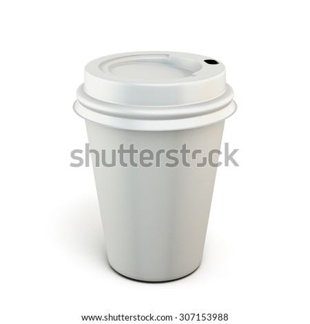 White plastic cup of coffee on a white background. Plastic cup for your design. 3d render image. - stock photo