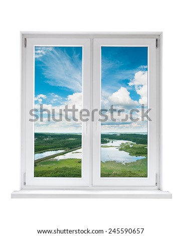 White plastic double door window with tranquil view through glass. Isolated on white background.