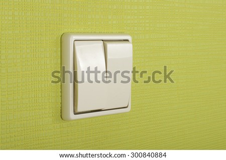 White plastic double electricity switch - stock photo