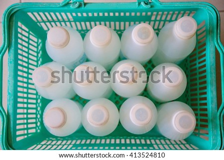white plastic drink water bottle in basket, Clean drinking water bottle from good healthy