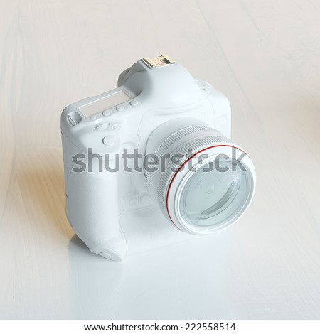 White Plastic Film Photo Camera On White Background - stock photo