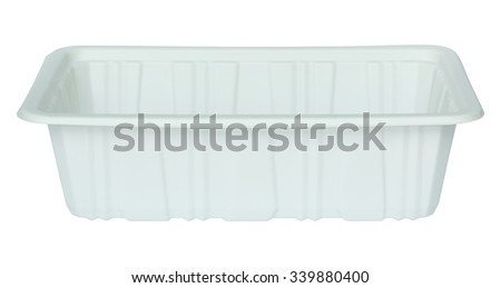 white plastic food container isolated white - stock photo