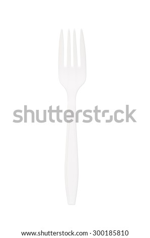 White plastic fork isolated on white background