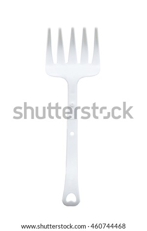 White plastic fork. plastic fork isolated on a white background. Plastic folding fork. fork with five teeth. select focus