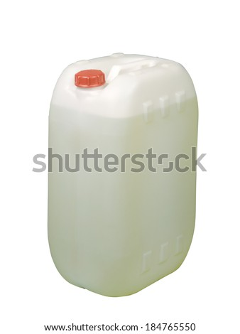 White plastic gallon, jerry can isolated on a white background