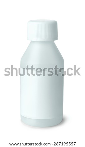 White plastic medicine bottle with blank label
