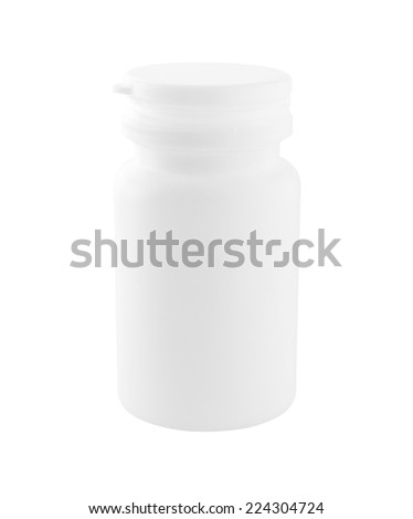 White Plastic Medicine Bottle with Cap isolated on white background