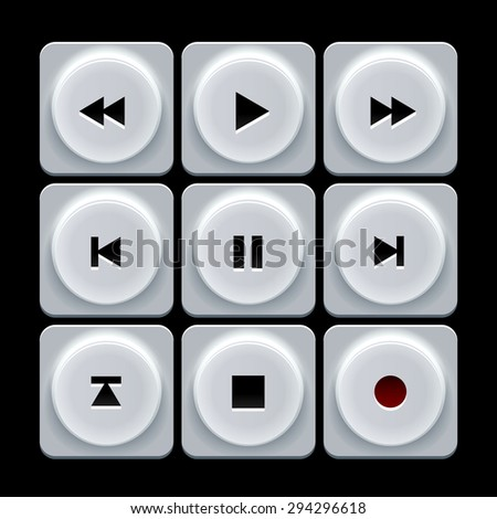 White plastic  player navigation buttons set - stock photo