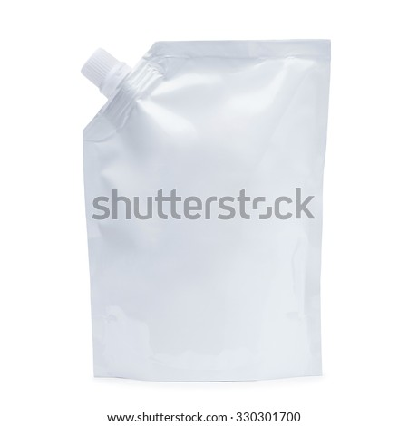 White plastic stand up pack with a corner lid. Isolated on a white background. - stock photo