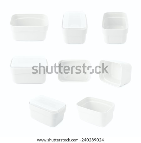 White plastic tableware food container isolated over the white background, set of multiple foreshortenings - stock photo