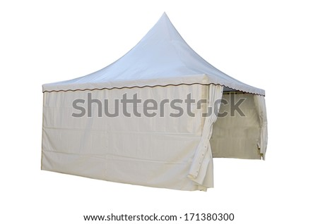 White plastic tent isolated over a white background - stock photo