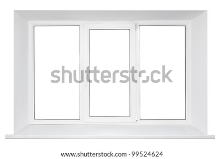 White plastic triple door wide window. Isolated on white background. - stock photo