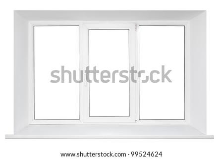 White plastic triple door wide window. Isolated on white background. - stock photo