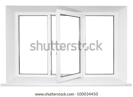 White plastic triple door window isolated on white background. Opened door - stock photo