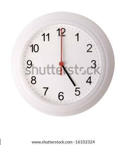 White plastic wall clock isolated on white (includes clipping path)