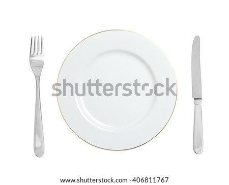 White plate, fork and knife isolated on white background