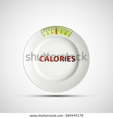 White plate in the form of scales and the inscription calories. - stock photo