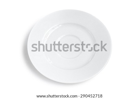 White plate isolated. - stock photo