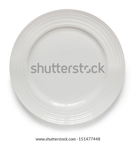 White plate isolated on white with soft shadow.  Overhead view. - stock photo
