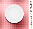white plate on a checkered tablecloth  illustration - stock vector