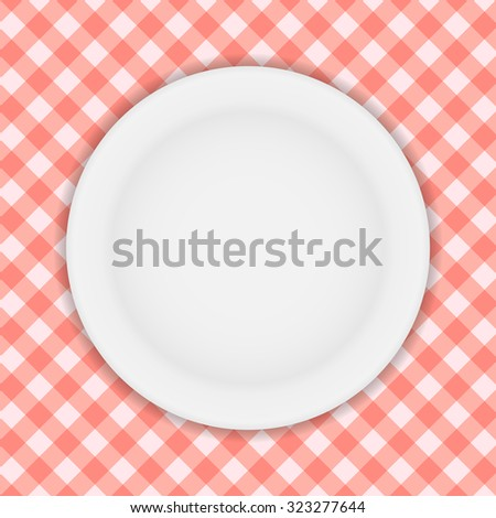White Plate on a Checkered Tablecloth Illustration