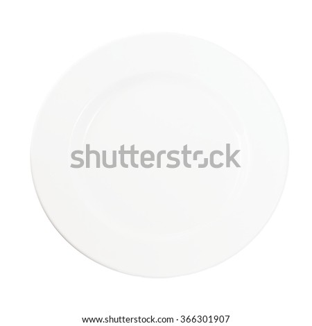 white plate on a white background, top view