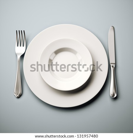 White plate on blue background
