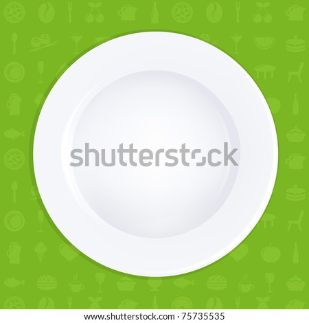 White Plate On Green Background - stock photo