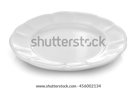 white plate white background