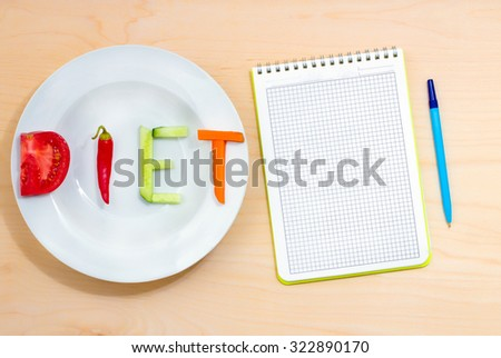 white plate with the word diet of different vegetables on a wooden table - stock photo