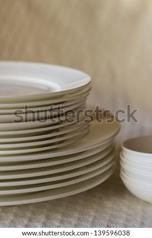 White Plates Stacked - stock photo