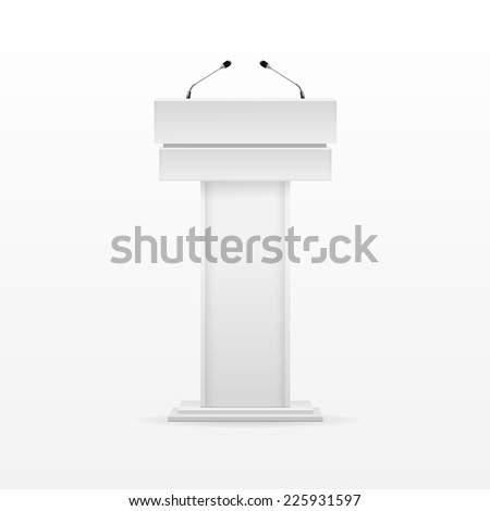 White Podium Tribune Rostrum Stand with Microphones Isolated on Background