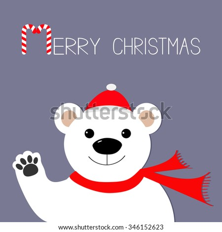 White polar bear in santa claus hat and scarf, paw. Candy cane. Merry Christmas Greeting Card. Violet background. Flat design