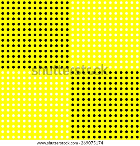 White polka dots pattern on solid yellow background - stock photo