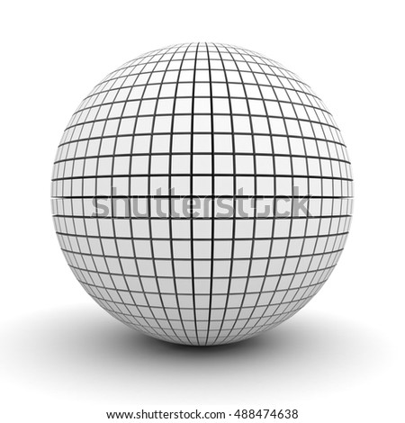 White polygonal sphere isolated over white background with shadow. 3D rendering.