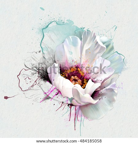 White poppy closeup, isolated on a white background. With elements of paint splatters and drips. As print for clothes, covers and other concept.