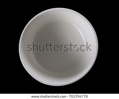 White porcelain bowl, dish isolated on black background