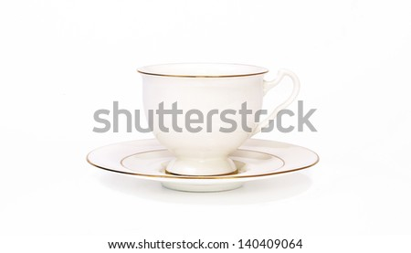 White porcelain cup on white - stock photo