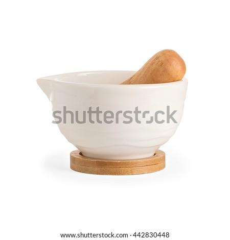 white porcelain mortar and pestle set - stock photo